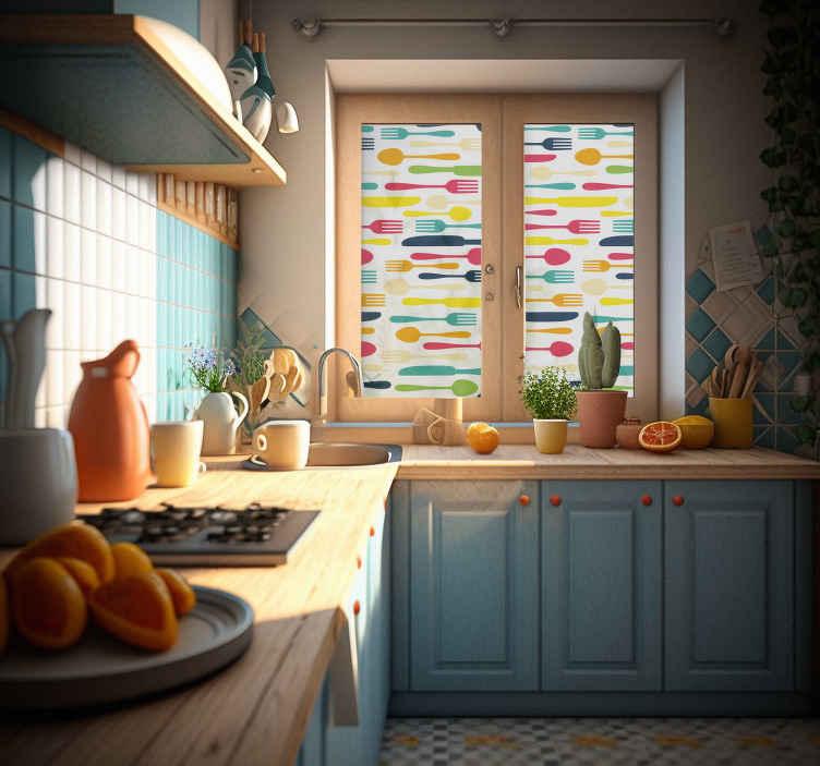 TenStickers. Keuken muursticker keukenbestek. Een vrolijke decoratie sticker van keukenbestek voor op de ramen of muren in uw keuken. Afmetingen aanpasbaar. Ervaren ontwerpteam.