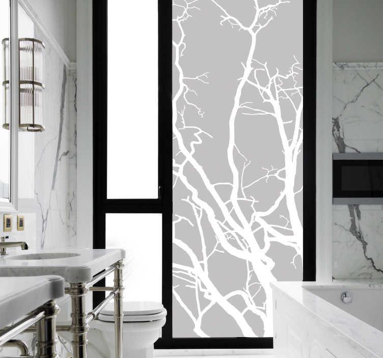 TenStickers. Boom muursticker takken. Decoreer de glazen douchewand in uw badkamer met deze bijzondere decoratie sticker waar takken van een boom zijn afgebeeld. Keuze uit 50+ kleuren.