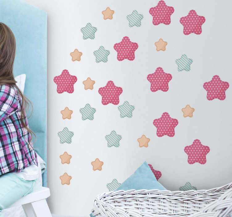 TenStickers. Varied Stars Wall Stickers. Add some starry decor to your child´s bedroom with this fantastic set of wall stickers! Anti-bubble vinyl.