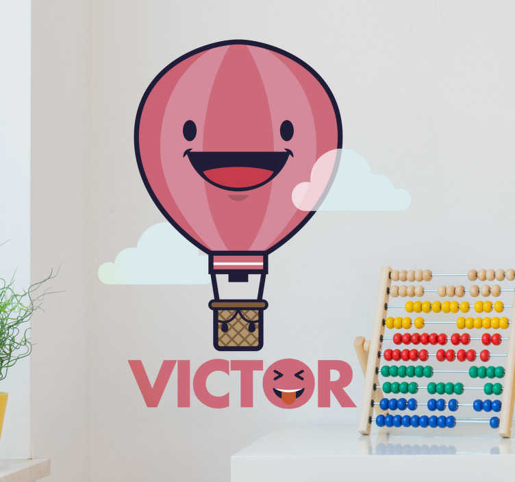 TenStickers. Air Balloon Customisable Sticker. Add some personalised fun to your child´s bedroom with this brilliant wall sticker! Add any name to it! Personalised stickers.