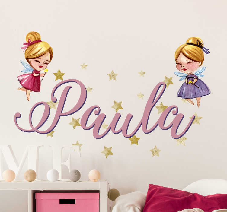TenStickers. Magiske feer, der kan tilpasses klistermærke. En storslået klistermærke, der kan tilpasses, perfekt til at dekorere den ekstra væg i dit barns soveværelse!