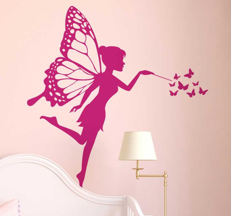 TenStickers. Kinderkamer muursticker fee en vlinders. Een fee met een toverstaf en acht vlinders, de perfecte muursticker voor het creëren van een magische kinderkamer. 10% korting bij inschrijving.