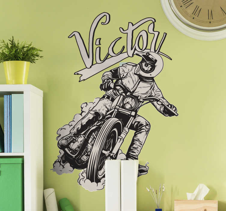 TenStickers. Motorbike Personalised Name Sticker. Add some retro style to your room thanks to this fantastic personalised sticker! Free delivery over £45. Perfect for those who love biking!