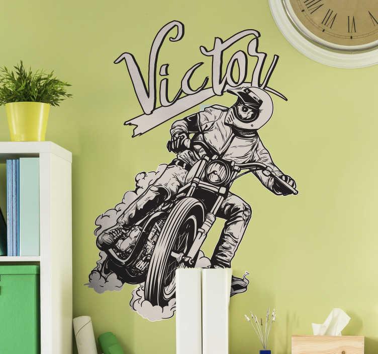 TENSTICKERS. オートバイのパーソナライズされた名前のステッカー. カスタマイズ可能な壁のステッカー、オートバイ愛好家に最適!
