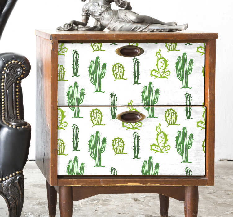 TenVinilo. Vinilo dormitorio mueble patrón cactus. Fantástico vinilo adhesivo con estampado de cactus sobre fondo blanco ideal para renovar muebles. Promociones Exclusivas vía e-mail.