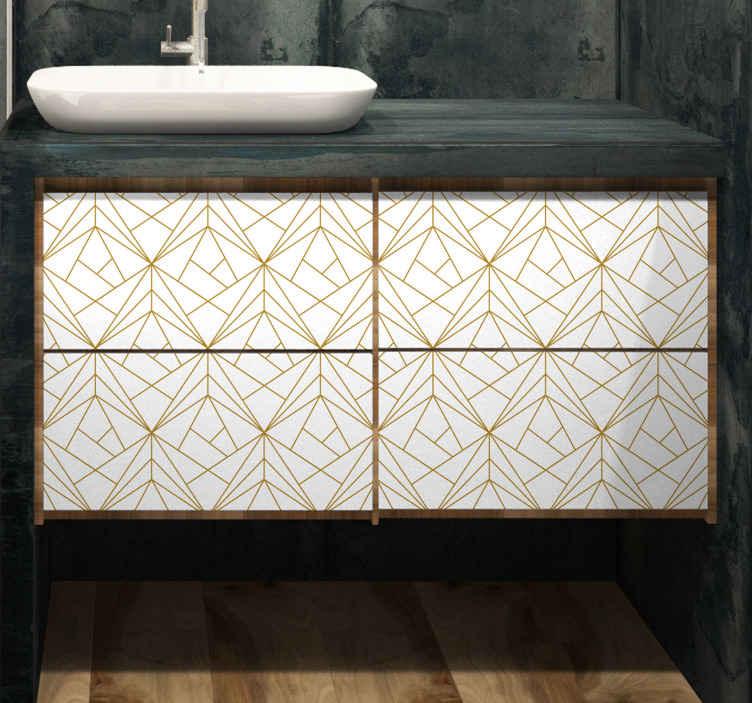 TenStickers. Slaapkamer muursticker geometrisch patroon meubilair. Plaats deze patroon sticker op de meubels in uw woning en creëer een geheel nieuwe look. Afmetingen en kleur aanpasbaar. Ook voor ramen en auto's.
