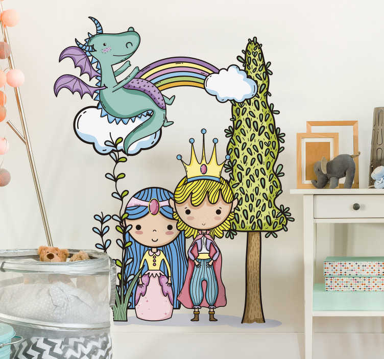 TenStickers. Kinderkamer muursticker magische wereld. Personaliseer de kinderkamer met deze magische sticker met onder andere een prins, een prinses, een unicorn en een regenboog. Eenvoudig aan te brengen.