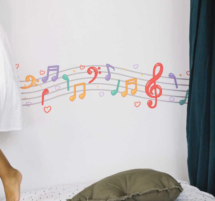 TenVinilo. Cenefa adhesiva notas musicales. Original vinilo adhesivo para habitación infantil con el diseño de un pentagrama y varias notas musicales de colores. Envío Express en 24/48h.