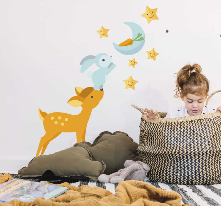 TenStickers. Animals Reaching for the Moon Wall Sticker. Decorate your child´s bedroom with this dream-enhancing wall sticker! +10,000 satisfied customers. Perfect for those children who love animals!