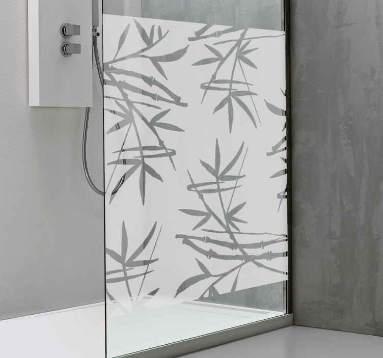 TenStickers. Translucent Bamboo Shower Sticker. Add some calm to your room with this fantastic bamboo themed shower sticker! Anti-bubble vinyl. Ideal for adding privacy while also keeping it cool!