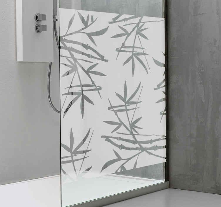 TenVinilo. Vinilo baño translúcido bambú. Original vinilo adhesivo para mampara de ducha con estampado de ramas bambú sobre fondo translúcido. +10.000 Opiniones satisfactorias.