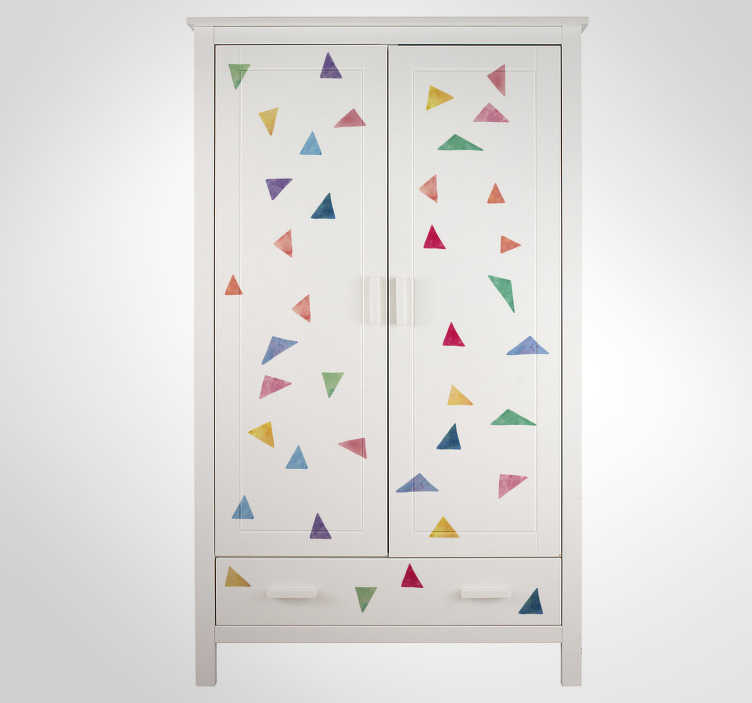 TenStickers. Scattered Triangles Sticker Collection. Garnish your home with these fantastic multicoloured triangular stickers! Anti-bubble vinyl. Ideal furniture decor for your cabinet!