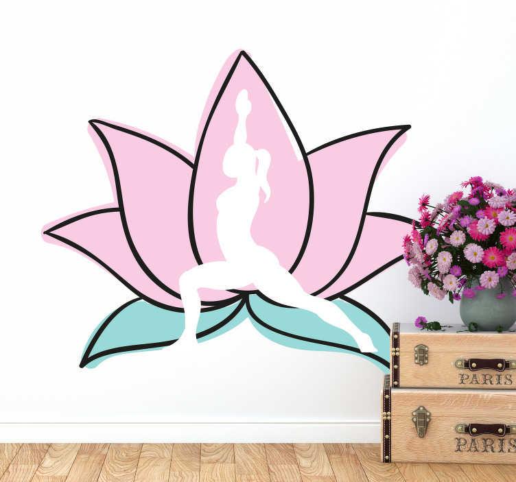 TenStickers. Slaapkamer muursticker yoga lotusbloem. Deze muursticker van een vrouwen silhouette die een yoga houding uitvoert en een lotusbloem zal een rustgevende sfeer creëren. Ook voor ramen en auto's.