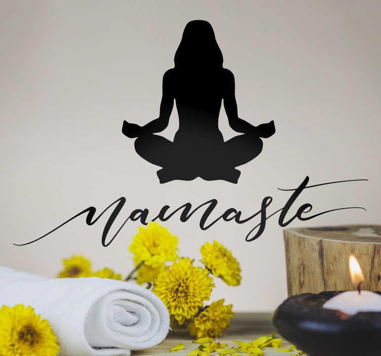 TENSTICKERS. ナマステの家の壁のステッカー. 装飾的な薬と瞑想する人のシルエットと健康ステッカー。