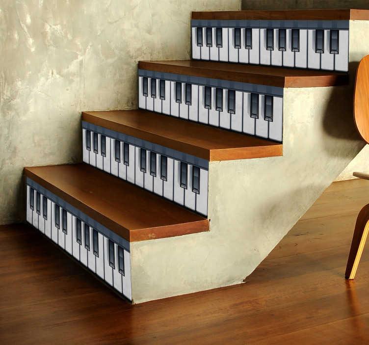 TenStickers. Muziek muursticker pianotoetsen. Decoreer de traptreden met deze pianotoetsen sticker en creëer een muzikale sfeer in uw woning. Afmetingen naar eigen wens aanpasbaar.