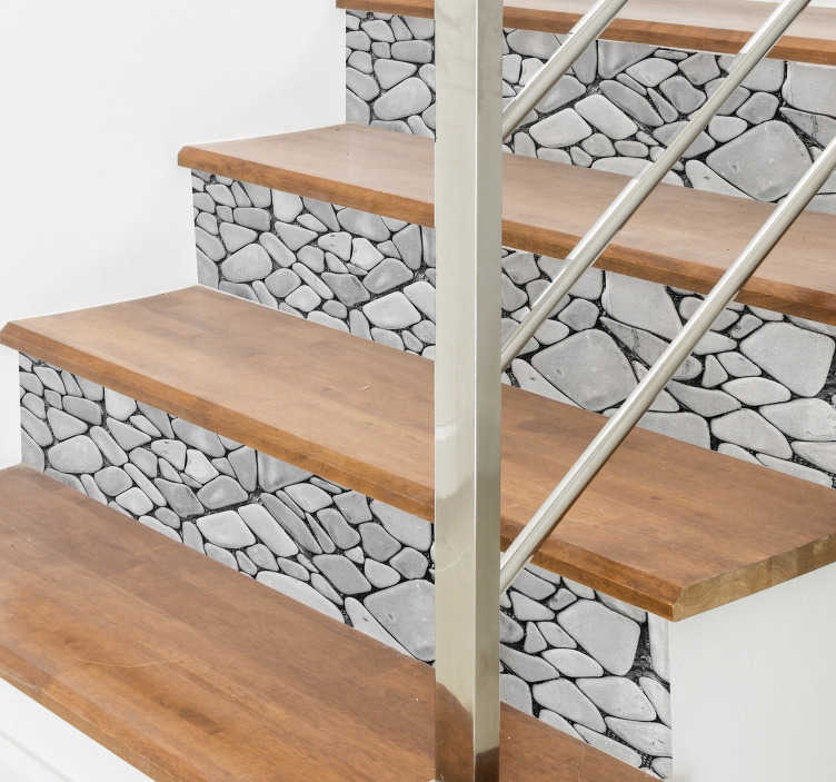 TenVinilo. Pegatina para escalera textura piedras. Vinilo decorativo casa para decorar las escaleras, con una textura elegante de rocas. Vinilos de fácil aplicación y sin burbujas