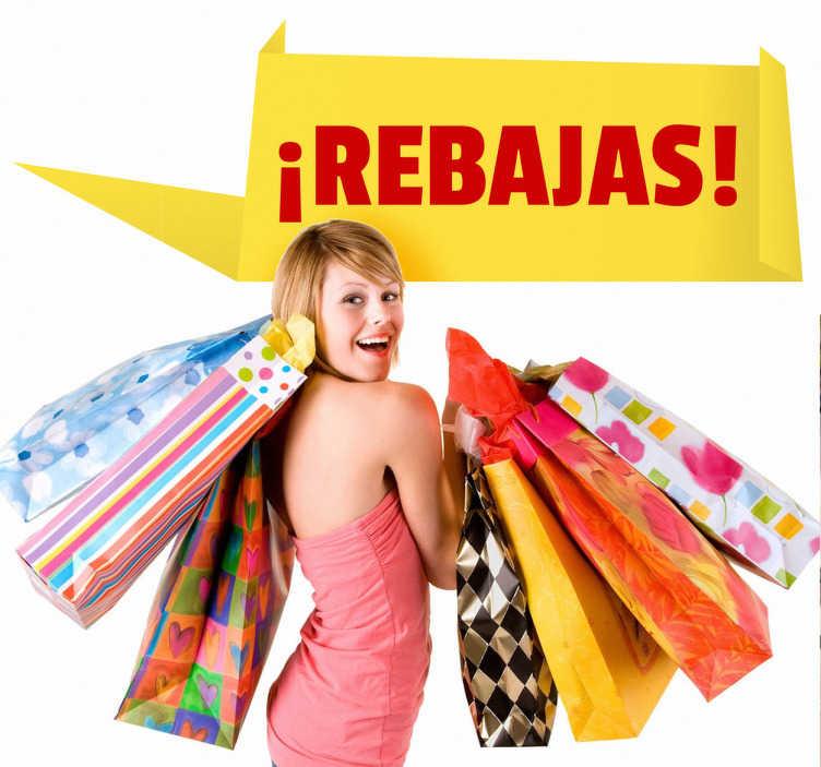 TenStickers. 明亮的黄色销售销售贴纸. 找到吸引新潜在客户的方法,以便让自己以推销商店的方式装饰您的商店。文本可以根据需要自定义。交货快。