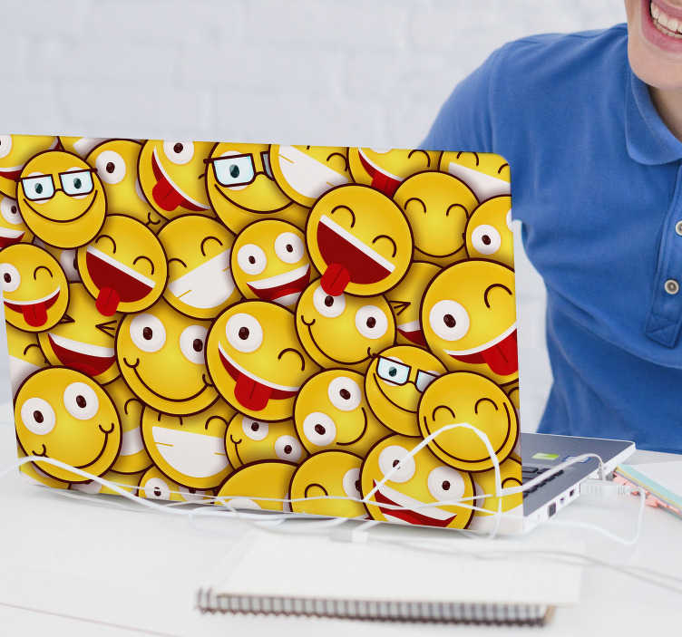 TenStickers. Laptop sticker emoticons. Maak uzelf en anderen vrolijk met deze emoticons sticker, geschikt voor de laptop. Afmetingen naar eigen wens aanpasbaar. Dagelijkse kortingen.