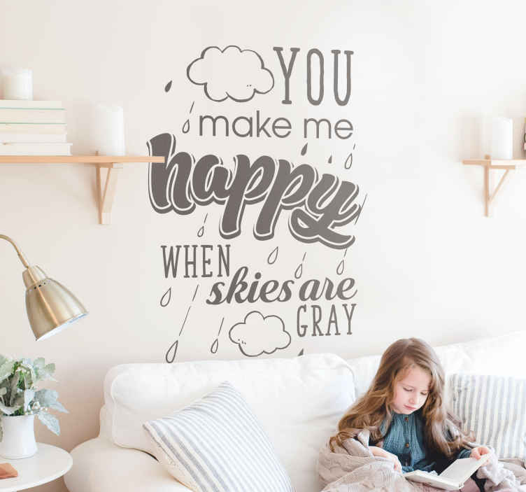 TenStickers. You are my Sunshine Lyric Text Sticker. Show your love for the famous song with this wall text decal! You make me happy! Choose your size. Personalised stickers.