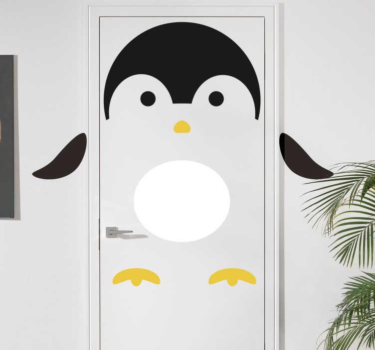 TenStickers. Kinderkamer deursticker pinguïn deur. Vrolijk uw woning op met deze pinguin sticker voor de deur van de kinderkamer. Afmetingen naar eigen wens aanpasbaar. Snelle klantenservice.