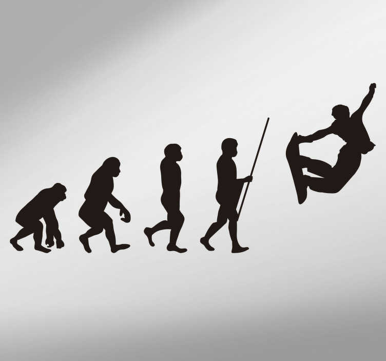 TenStickers. Evolution of Man Snowboard Theme Wall Sticker. Tell your own story of evolution with this great sticker! Perfect for all those who love to skate in these times! Easy to apply.