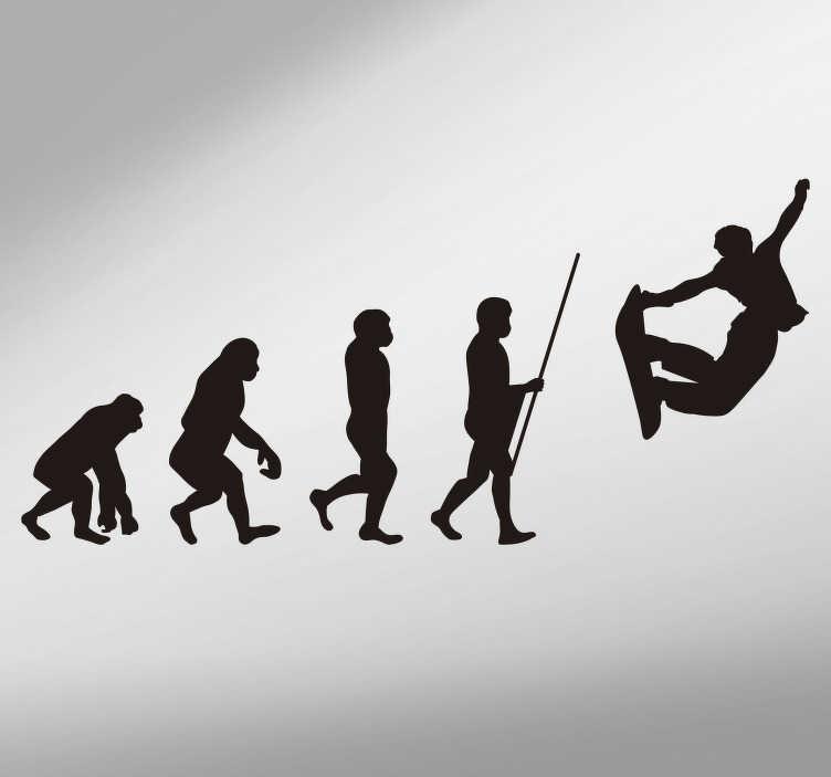 TenStickers. Sticker Sport Évolution Humaine Snowboard. Décorez votre voiture, maison, chambre d'enfant ou autres pièces avec notre sticker sport de l'évolution humaine en relation avec le snowboard.