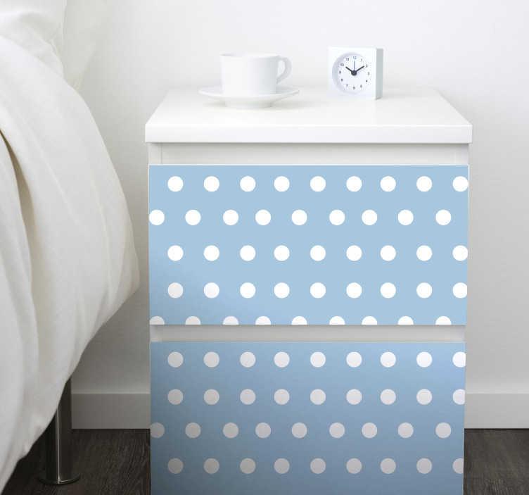 TenStickers. Sticker Meuble Motif à Pois. Décorer la face de vos meuble à l'aide de ce sticker meuble pour toutes les marques comme Ikea et personnalisez grâce à ce motif à petits pois sur fond bleu. Livraison Rapide.