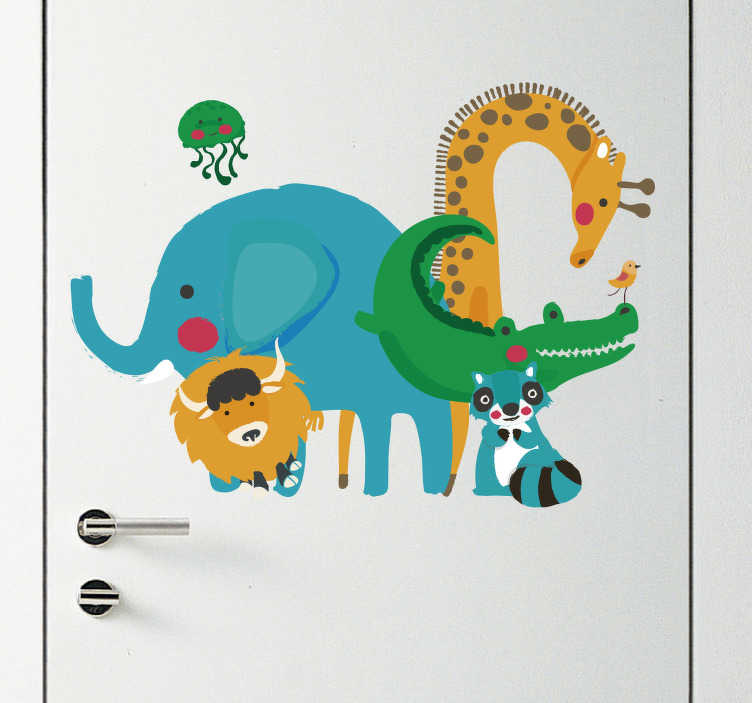 TenStickers. Jungle Animals Door Hanger Sticker. Add some jungle animals to any room with this fantastic decal! Sign up for 10% off.
