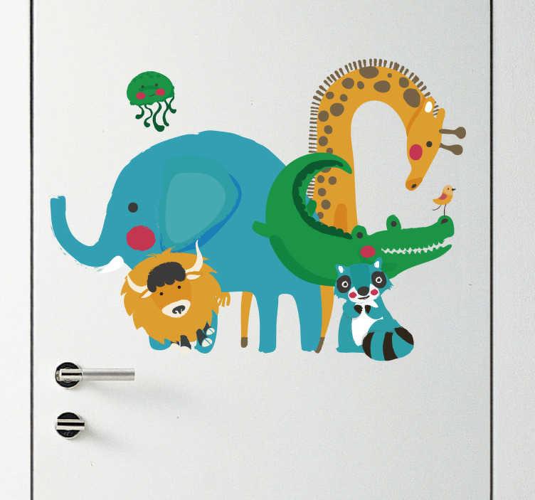 TenStickers. Kinderkamer deursticker jungle dieren. Een muursticker met verschillende jungle dieren voor op de deur van de kinderkamer. Afmetingen aanpasbaar. - Snelle klantenservice.