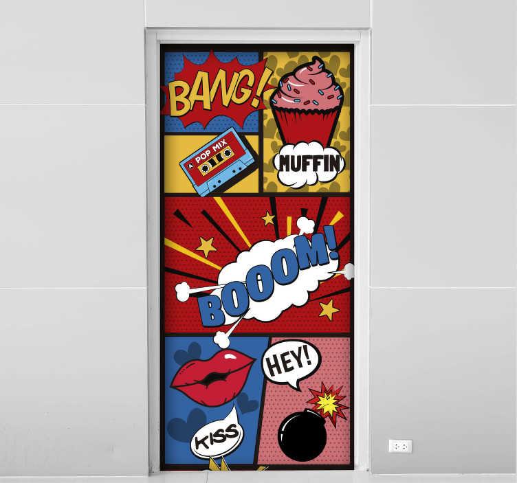 TenStickers. Türaufkleber Comic Pop Art Tür. ''Bang'', ''Boom''und ''Bang''. Pop Art hat eine zeitlos kultige Relevanz. Und dieses originelle Wandtattoo ebenfalls! Mehr als 50 Farben