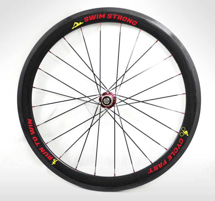 TenStickers. Triathlon Bike Wheel Wall Sticker. Sports Stickers - Triathlon themed design. Designs ideal for athletes & sports-related organisations.