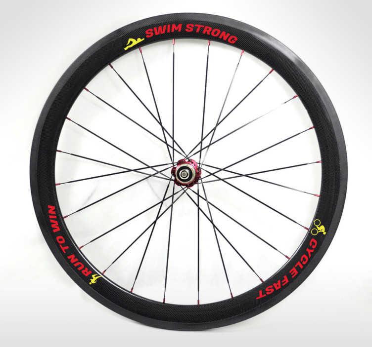 """TenStickers. Fahrrad Aufkleber Triathlon. Gestalten Sie Ihre Fahrrad Reifen mit den drei Disziplinen eines Triathlon. """"Swim strong, run to win, cycle fast!"""""""