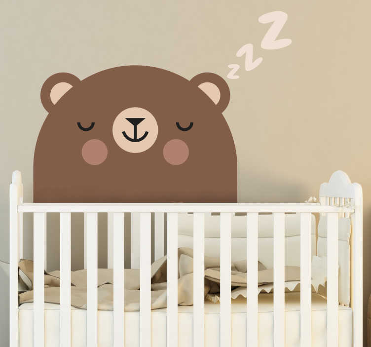TenStickers. Sticker Chambre Enfant Ours pour Chambre d'Enfant. Décorez la chambre de votre bébé avec un autocollant mural animal d'ours qui dort pour l'aider à faire de beaux rêves durant toute l'année. +50 Couleurs Disponibles.