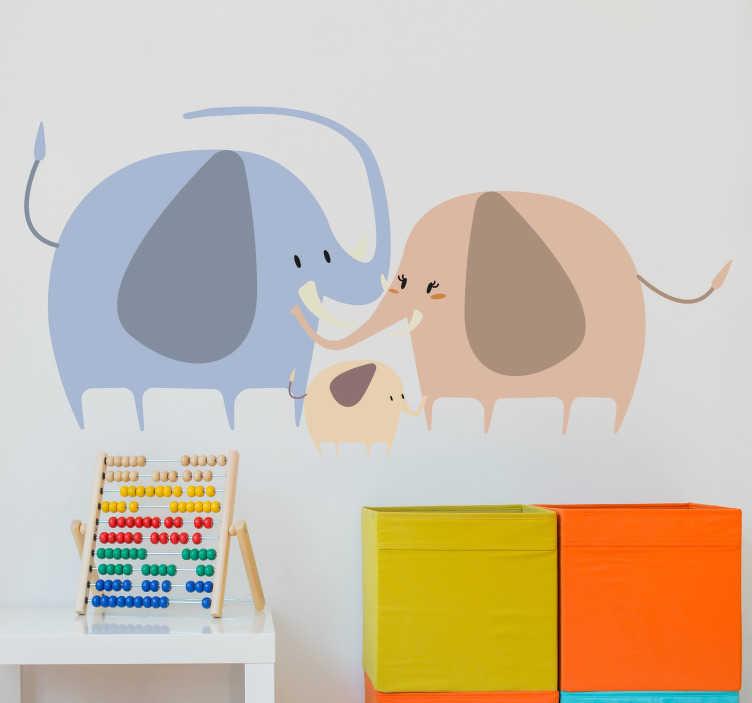 TenStickers. Kinderkamer muursticker olifanten familie. Deze schattige muursticker met een olifanten familie afgebeeld zal zorgen voor een knusse kinderkamer. Ook voor ramen en auto's.