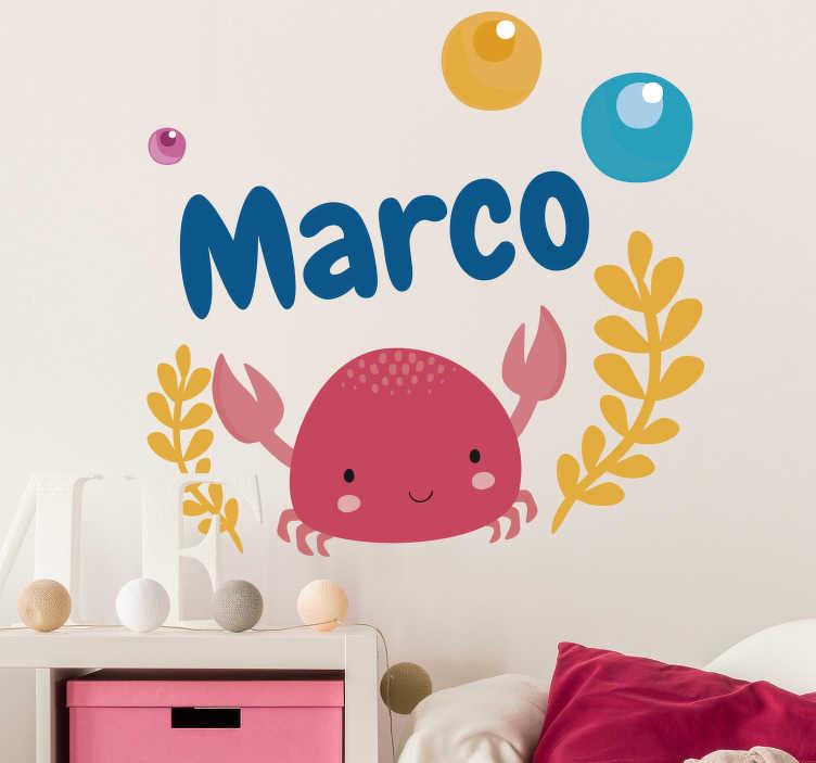 TenStickers. Sticker Illustration de Crabe pour Enfant. Optez pour décoration personnalisable pour la chambre de votre enfant avec cet autocollant mural d'animal pour lui donner l'envie d'aimer sa chambre.