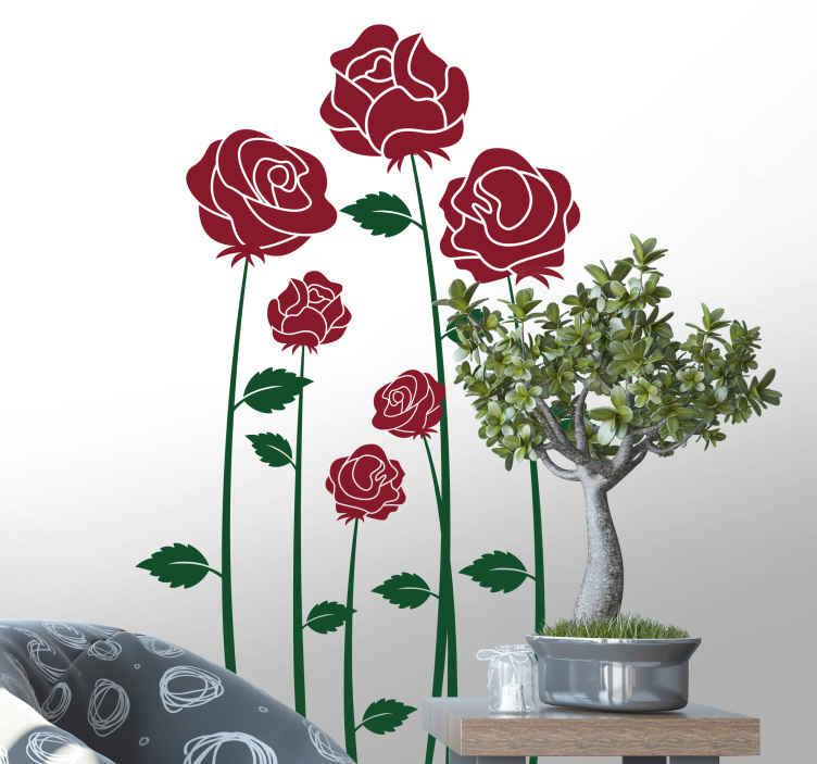 TenStickers. Adesivo murale camera da letto rose rosse. Disegno per pareti rose rosse per personalizzare e dare un tocco di colore e eleganza all'interno della tua camerada letto o living. Di semplice applicazione, originale ed economico.