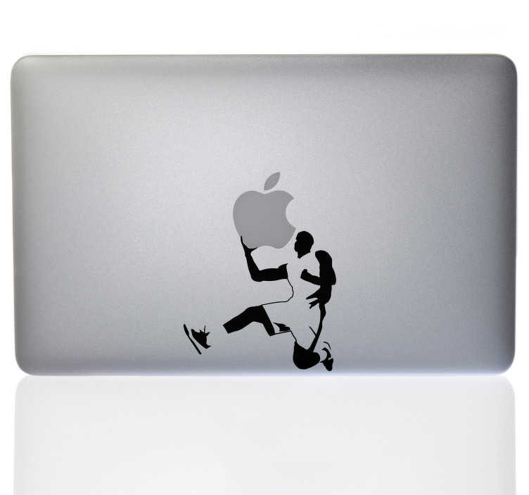 TenStickers. Basketball Player Macbook Sticker. Decorate your Macbook with this fantastic laptop sticker! Easy to apply. Ideal for all of those who love the NBA as much as we do.