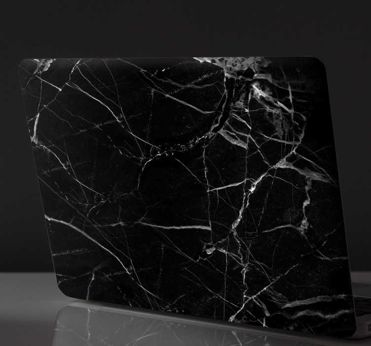 TenStickers. Sticker Motif Marbre Noir pour PC. Personnalisez votre ordinateur portable avec un autocollant PC de texture de marbre noir pour décorer votre outil de travail comme vous le voulez