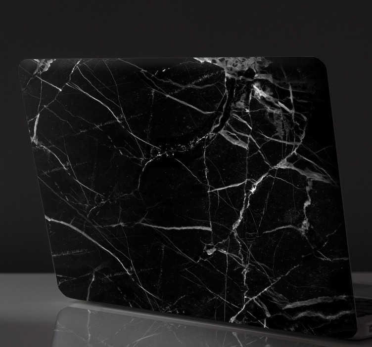 TENSTICKERS. 黒大理石のラップトップステッカー. 私たちの驚くべきステッカーであなたの毎日のオブジェクトを飾る。