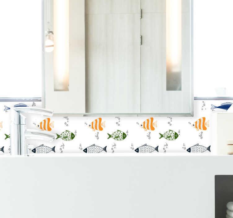 TenStickers. Dieren muursticker behangrand vissen. Een vrolijke behangrand sticker met vier verschillende soorten vissen om sfeer te creëren in de badkamer. Eenvoudig aan te brengen.