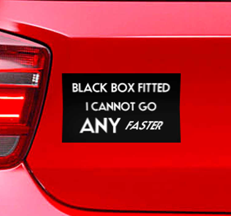 TenStickers. Black Box Warning Car Sticker. Inform everyone around you that you have a black box with this useful car sticker! +10,000 satisfied customers. Ideal for all black box users.