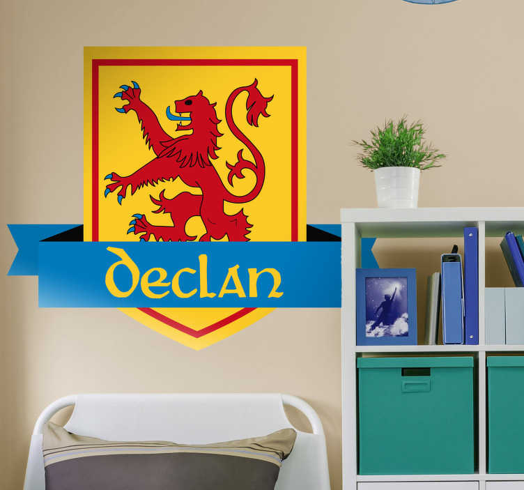 TenStickers. Scottish Coat of Arms Customisable Wall Sticker. Furnish your wall with the Scottish lion thanks to this fantastic wall sticker! Proud Scots everywhere?! Personalised stickers.