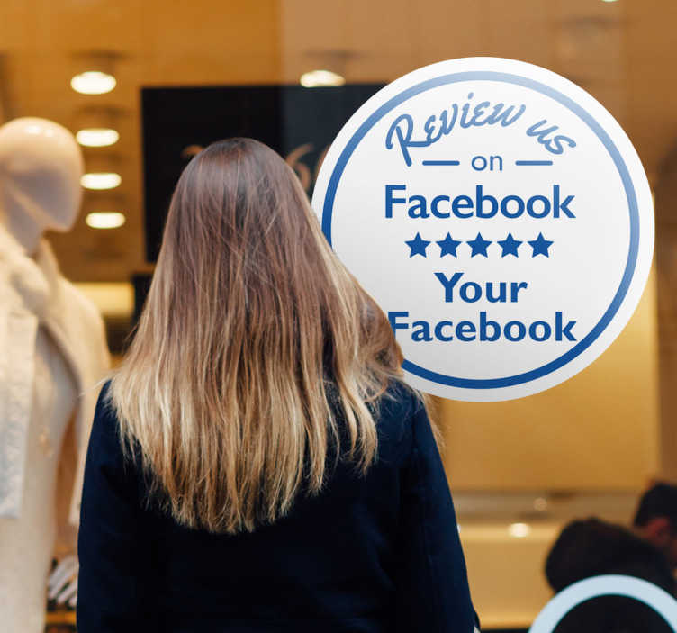 "TenStickers. Bedrijfssticker beoordeling Facebook. Maak uw klanten bewust van uw social media account met deze etalage sticker met daarop de tekst ""Review us on Facebook"". Personaliseren vanaf €3."