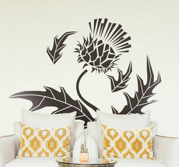 TenStickers. Sticker Plante Chardon Écossais. Envie d'une nouvelle décoration originale pour votre salon ou chambre à coucher ? Vous pouvez opter pour cette plante très populaire d'Ecosse