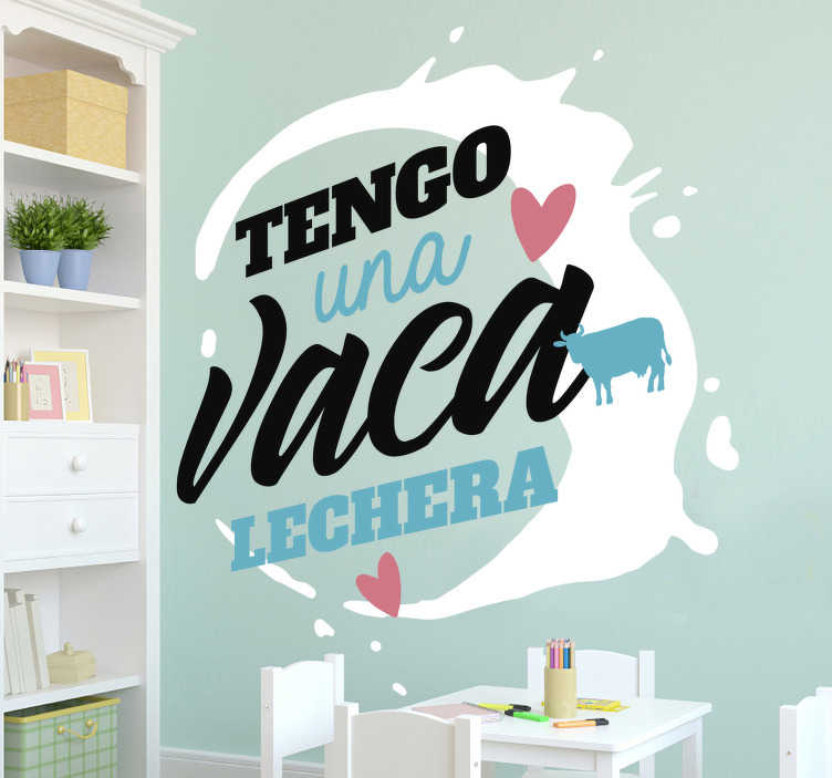 """TenVinilo. Vinilo pared canción infantil la vaca lechera. Vinilo de texto formado para la frase """"Tengo una vaca lechera"""" perfecto para una habitación infantil. Vinilos Personalizados a medida"""