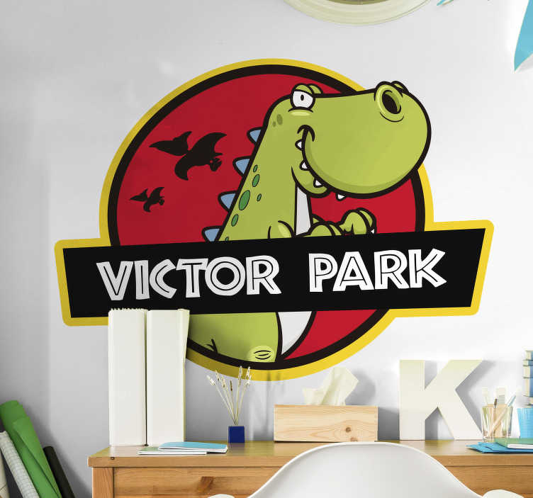 TenVinilo. Vinilo pared dibujos de dinosaurios. Vinilo decorativo para habitación infantil con la ilustración del emblema o logo de Jurassic Park infantil. Compra Online Segura y Garantizada