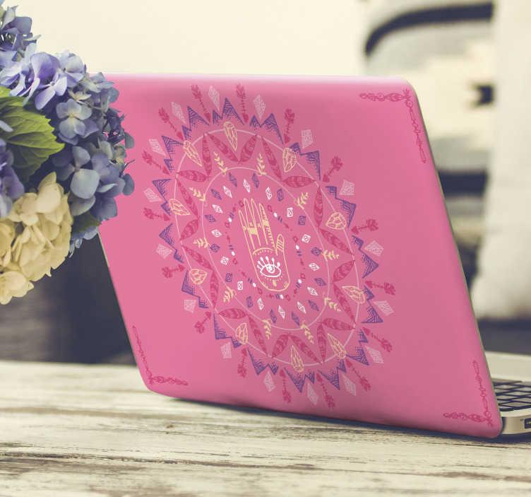 TenVinilo. Vinilo abstracto mano de Fátima. Vinilo con fondo rosa formado por la mano de Fátima rodeada de varias esferas con detalles muy bien cuidados. Vinilos Personalizados a medida