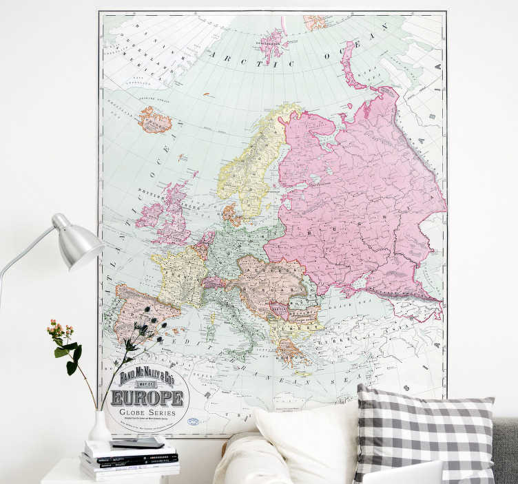 TenVinilo. Vinilo pared mapa de Europa 1900. Adhesivo decorativo estilo vintage de la representación política del mapa de Europa en el año 1900. Vinilos de fácil aplicación y sin burbujas.
