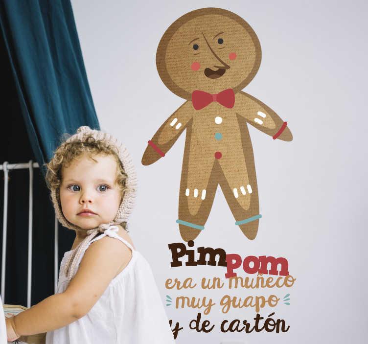 """TenVinilo. Vinilo pared música infantil Pin Pon. Vinilo ideal para habitación infantil con la frase """"Pin Pon es un muñeco muy guapo y de cartón"""". Envío Express en 24/48h"""