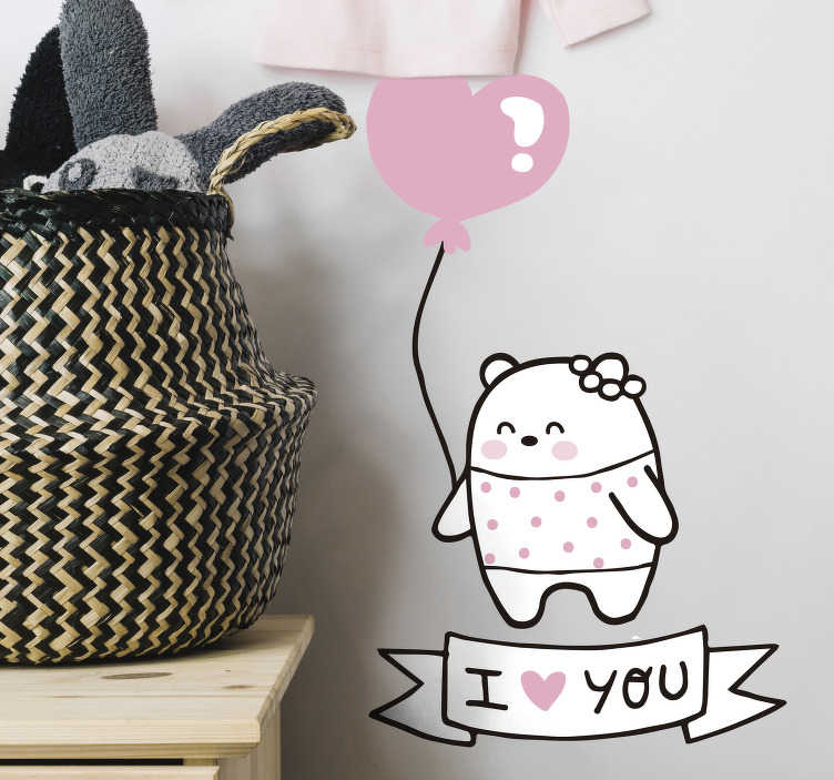 TenStickers. Kinderkamer muursticker liefdevolle beer. Op deze muursticker is een beer met een ballon in de vorm van een hart afgebeeld, met daaronder de tekst I Love You. Express verzending 24/48u.